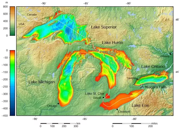 How Deep Are The Great Lakes Quora - Lake huron depth map