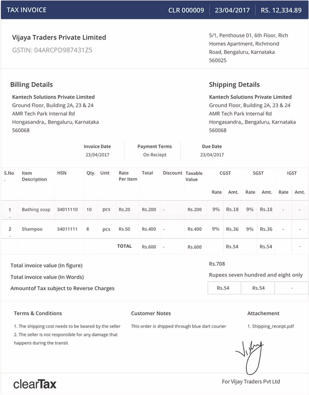 How Is The IGST Invoice Format Quora - Invoice number format