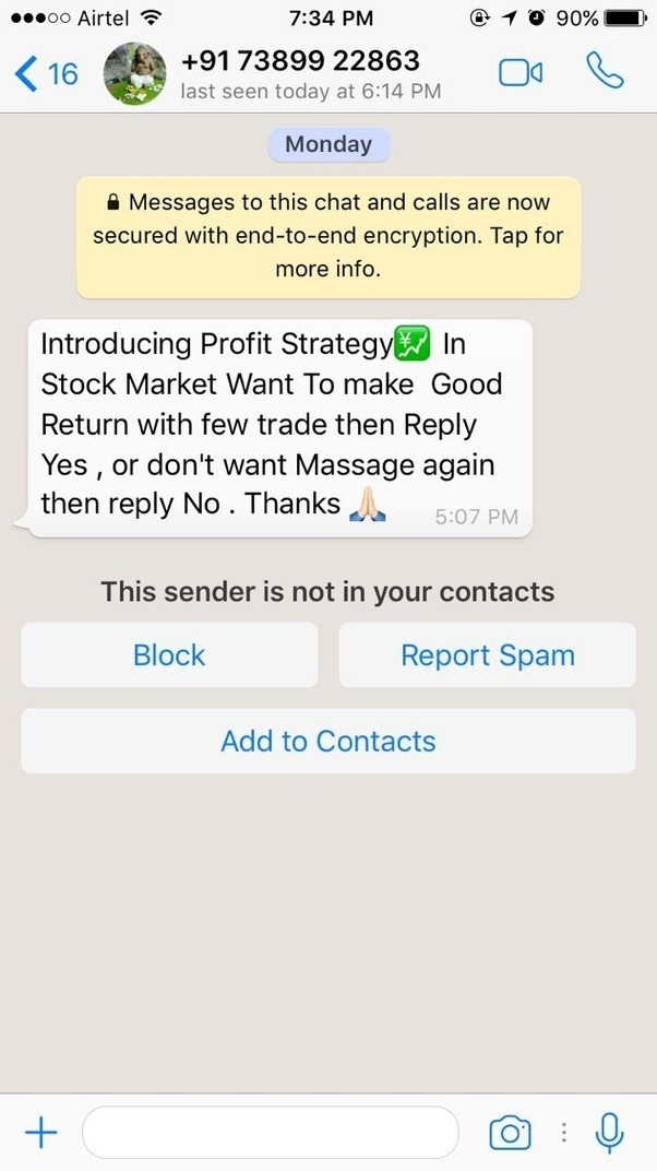 here is an example of a message which i received recently from someone on stock market