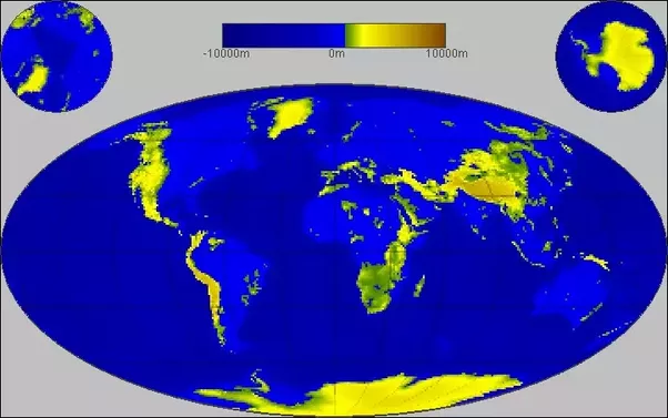 If sea levels were to rise by one kilometer how much of the earths as you can see not much remains of the continents the big mountain ranges are still around and antarctica which has the highest average elevation of gumiabroncs Image collections