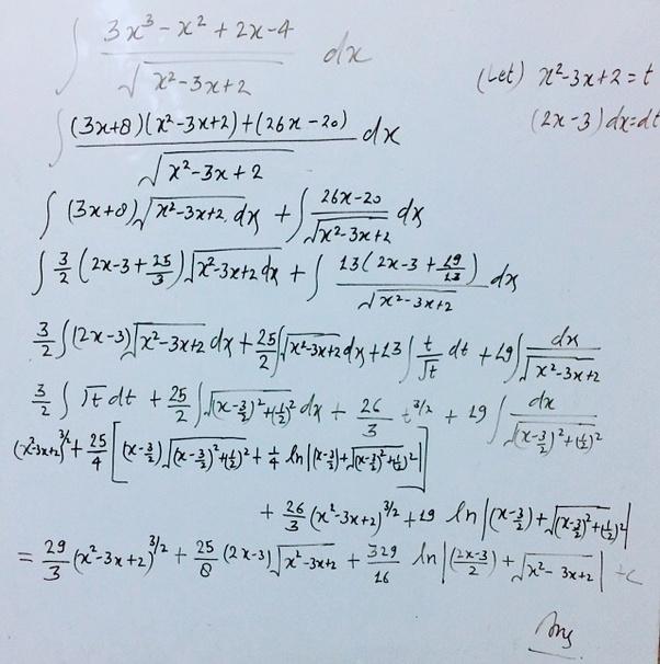 how to integrate math dfrac 3x 3 x 2 2x 4 sqrt x 2 3x 2 dx math quora. Black Bedroom Furniture Sets. Home Design Ideas
