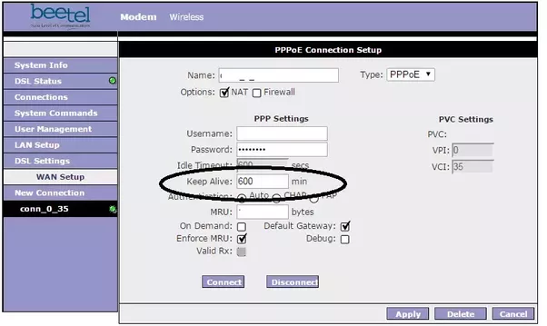 you will find the keep alive settings field in the pppoe connection setup page of your modem