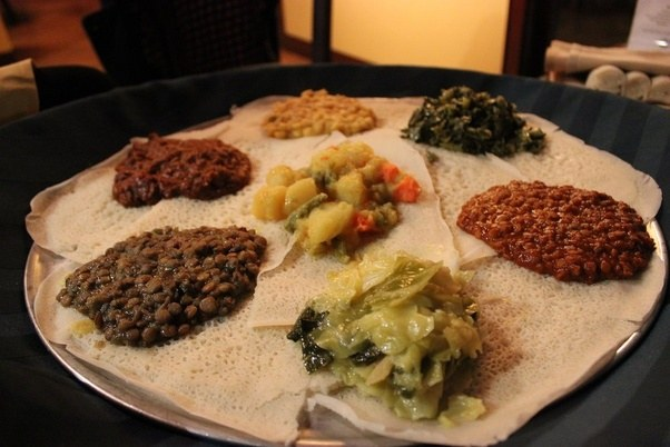 awesome vegetarian options such as the vegetarian feast the feast does not come with silverware you eat with your fingers using the injera a spongy - Gourmet Garden Ann Arbor