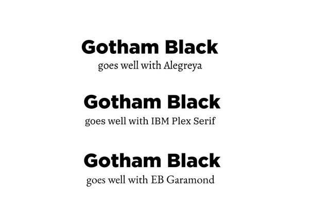 What is a good serif font to pair with a Gotham black (sans) font
