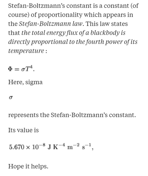 Stefan Boltzmann Constant