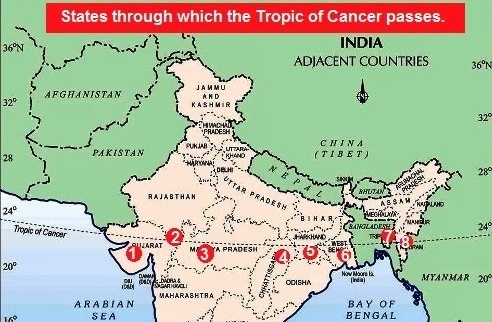 Which city is nearest to the tropic of cancer in india quora tropic of cancer is the imaginary line at 2350 degreenorth of the equator in india tropic of cancer passes through 8 states gumiabroncs Gallery