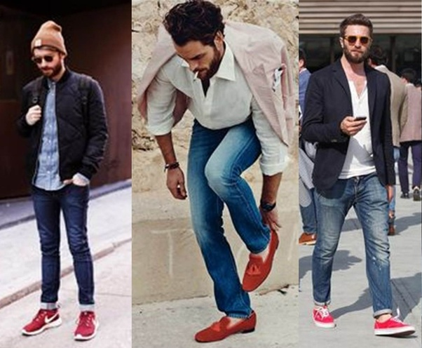 d037247384 Any colour of jeans like black or blue or grey or beige and white t-shirt  is also a very good combination with red shoes.