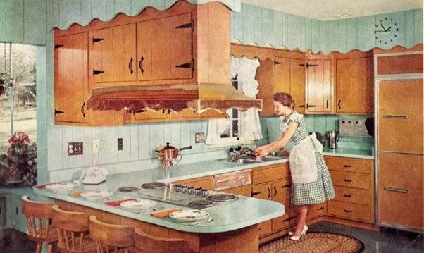 Kitchens Overflowed With Convenience Gadgetry And Built In Appliances Color Coordinated To Match Any Monochrome Or Two Tone Pastel Scheme You Wanted