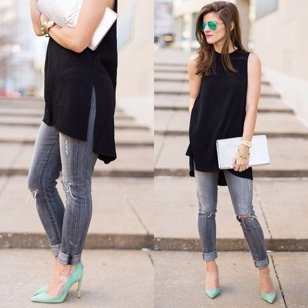 what top to wear with grey jeans
