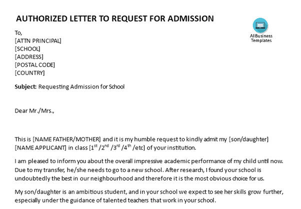 How to write a request letter for school admission quora please have a look at this fee example authorized letter requesting for school admission template expocarfo Gallery