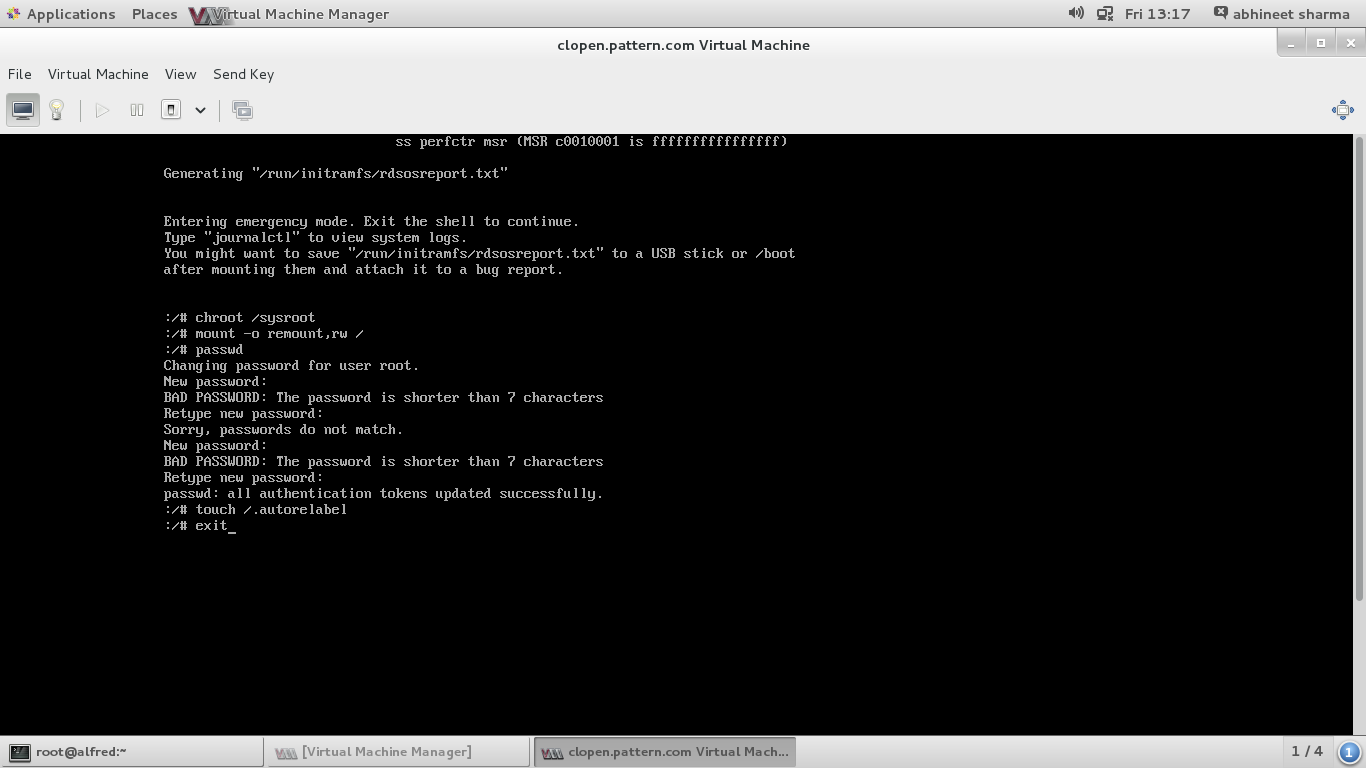 When changing the root password on RHEL 7, how come the rd break