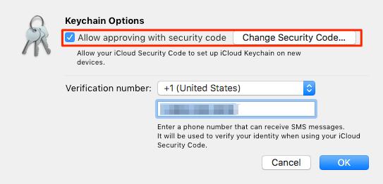 Tap Keychain Advanced option