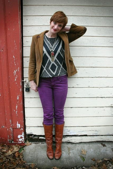 Here Is A Brown Cardigan Matched Up With Pair Of Purple Pants And Boots