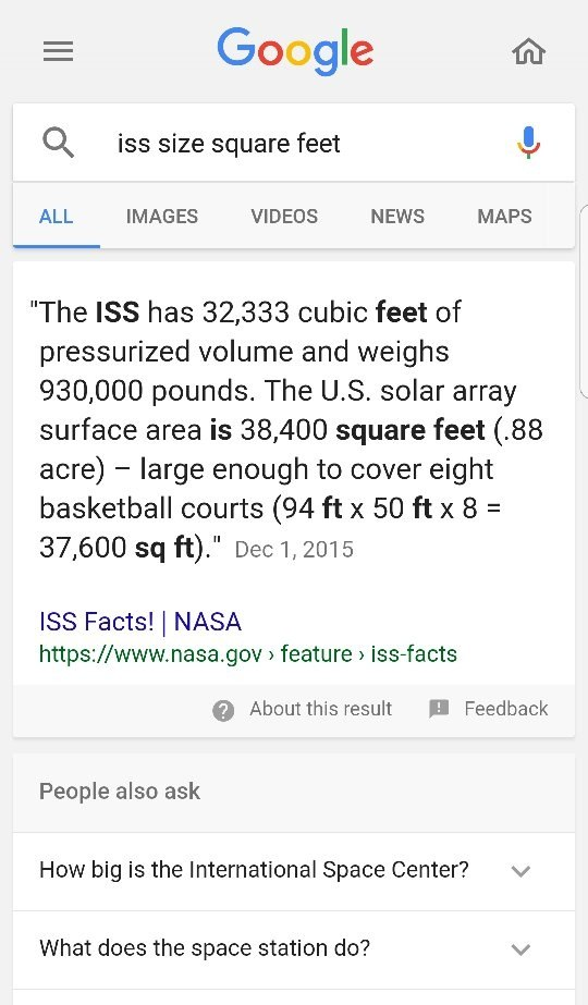 How Big Is The Iss In Terms Of Square Feet Quora