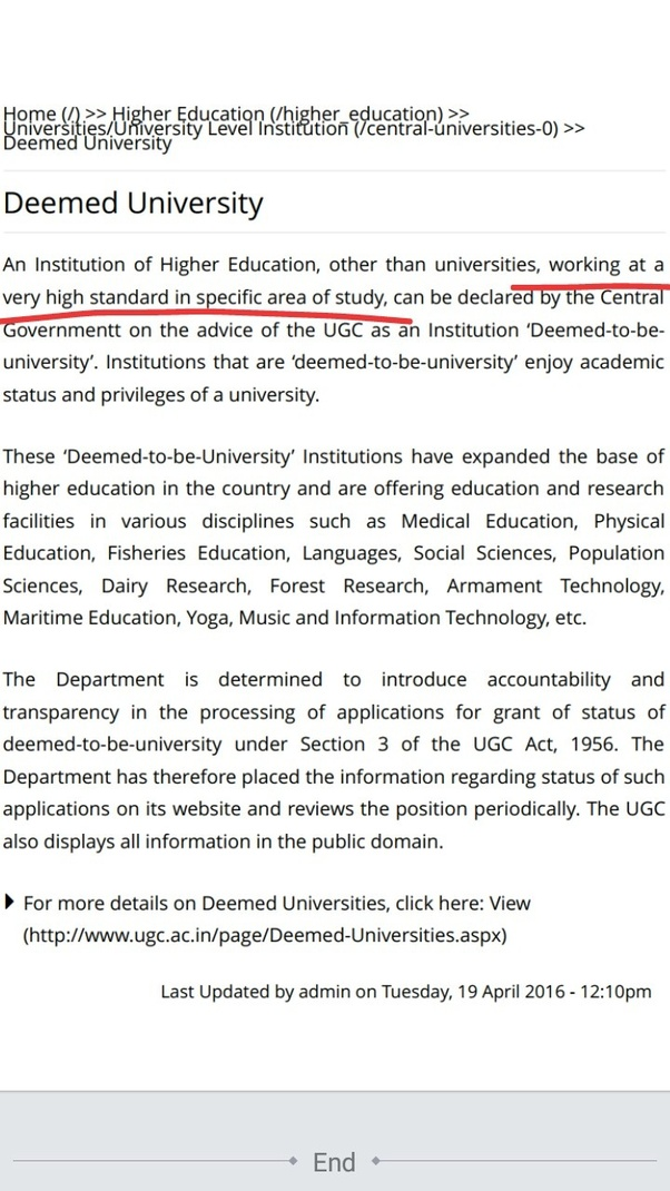 What is the meaning of a deemed university? - Quora