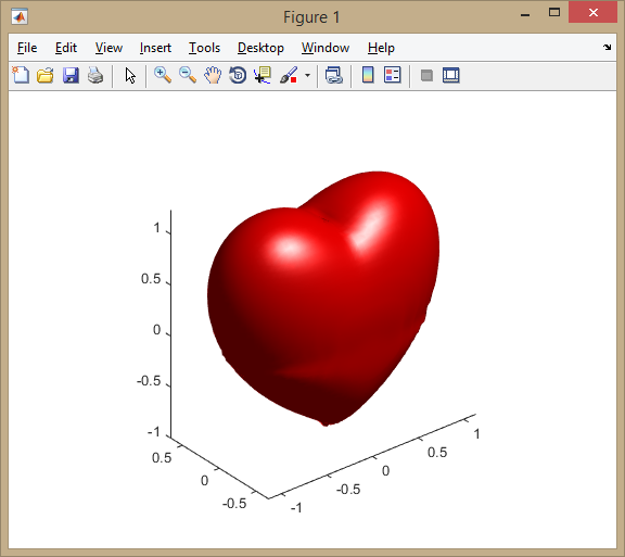 How to draw love or heart using matlab quora f x2z3 980y2z3x294y2z2 13 shaded surface isosurfacexyzf0 lighting phong axis equal altavistaventures Images