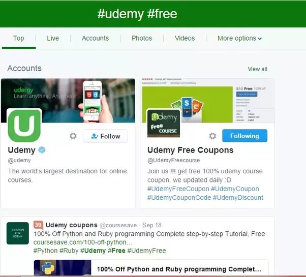 How to get udemy courses for free or at highly discounted prices 2itter you can search on the twitter also using hashtags like udemy free you will see a lot of accounts fandeluxe Image collections
