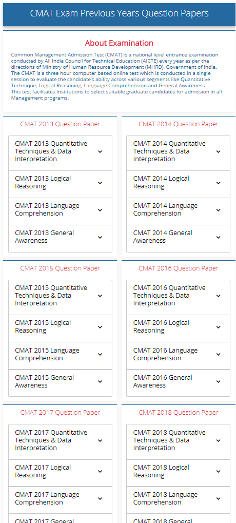 Pdf cmat sample papers