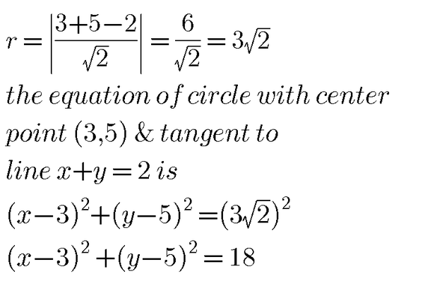 What Are The Equations Of A Circle With The Centre (3, 5