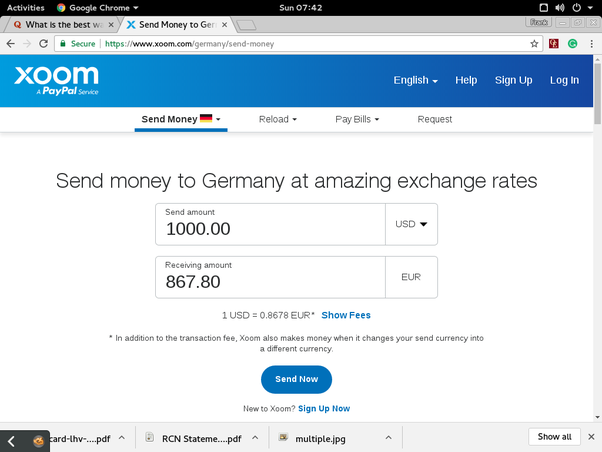 What is the best way to send money from the US to Europe in