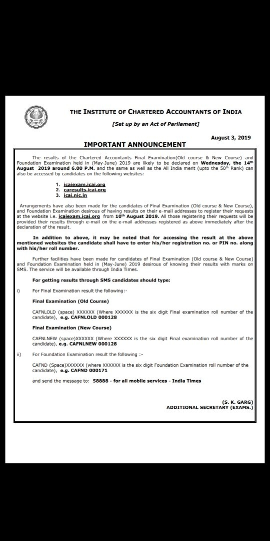 ca final exam may 2019 result date