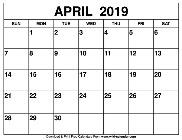 graphic relating to April Calender Printable named How in direction of buy a released or printable calendar for April 2019