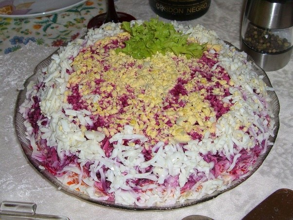 olivier salad widely known as a russian salad has a loooot of mayonnaise keep in mind that russia has the biggest annual consumption of mayo
