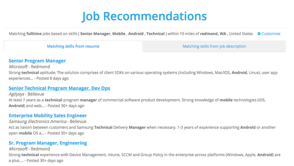 jobs recommended based on the top skills found from your resume or job description job listings are freshly called from indeedcom