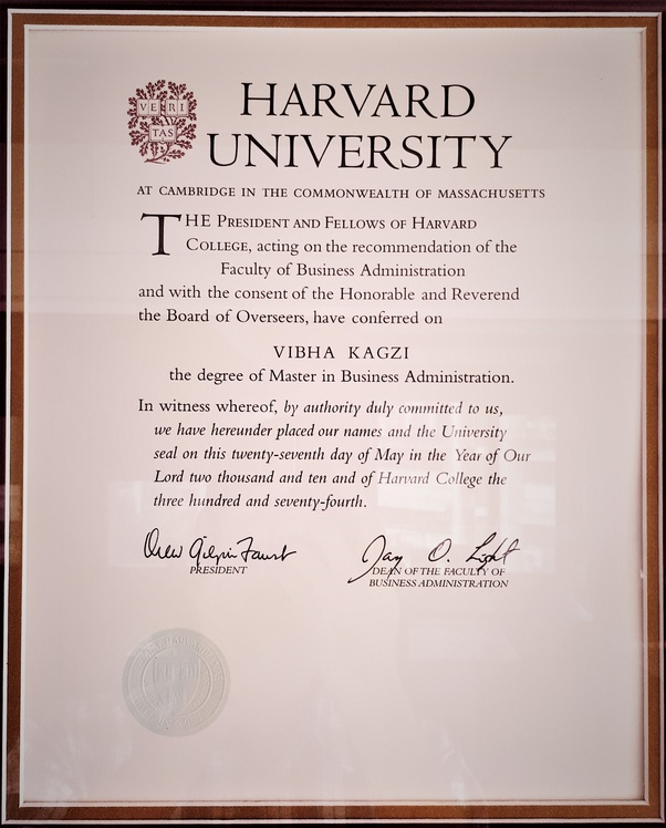 How Does An Mba Degree Certificate From Harvard Business School Look