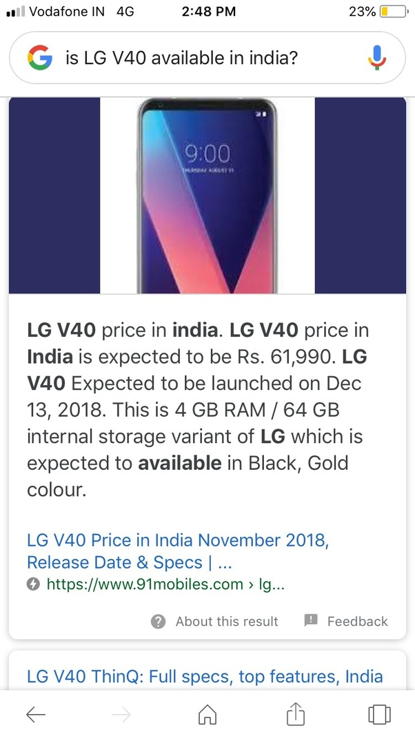 Is the LG V40 BTS available in India? - Quora