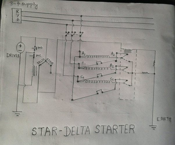 Here's a contactor controlled STAR-DELTA type starter circuit with NO/NC Switch.
