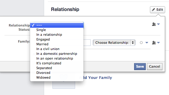 How to change relationship status on fb