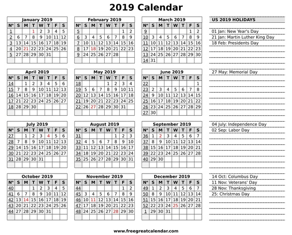 calendar 2019 can print with us holidays