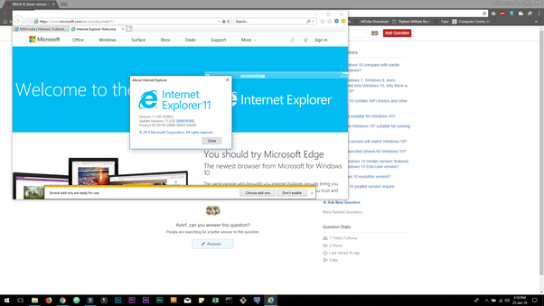 Which IE driver version is suitable for ie11 in Windows 10? - Quora