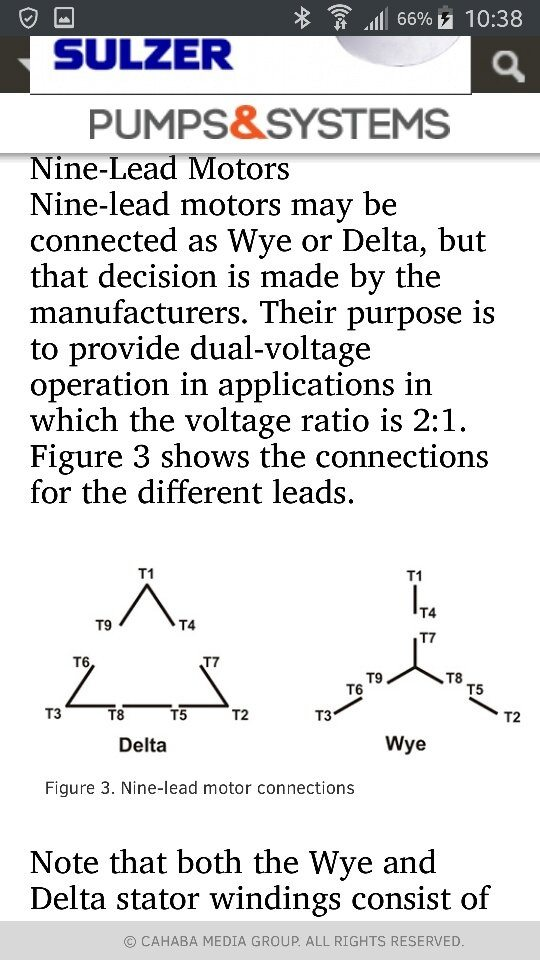 A three phase delta connected motor has a resistance of 1.2 Ohms ...