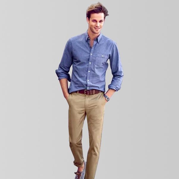 khaki pants what color shirt