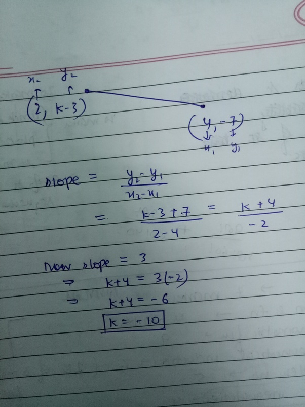 What Is The Value Of K If The Slope Of The Line Joining The Points 2 K 3 And 4 7 Is 3 Quora