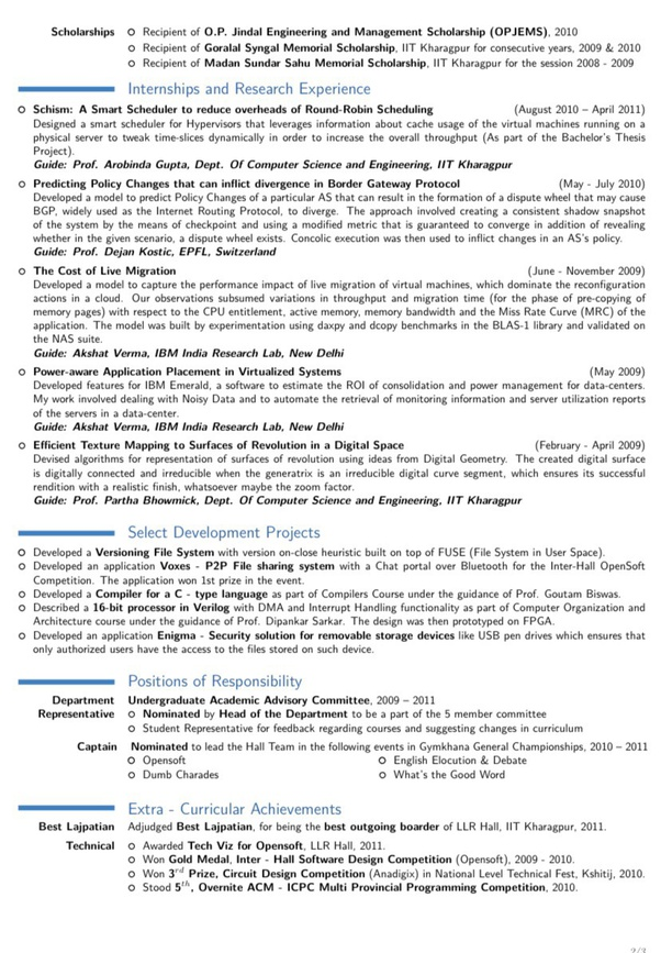 What Is The Best Iit Resume You Have Seen Quora