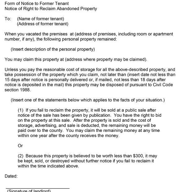 How long after a tenant leaves possessions behind are they sample letter your options under california law can be found here options for a landlord when a tenants personal property has been left in the rental altavistaventures Choice Image