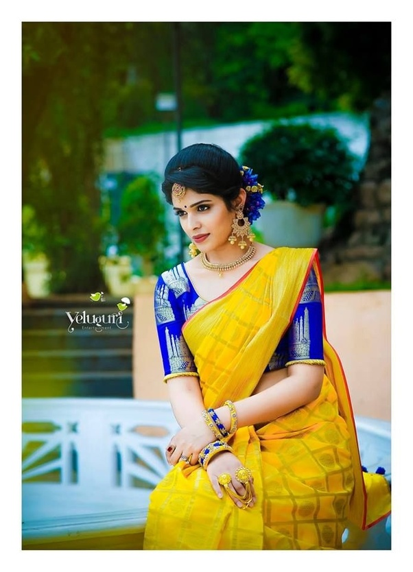 736f81cb4d90d8 The color blue is refreshing and matches well with the burst of yellow.  Flaunt this combination with poise and charm. Pair golden accessories to  get the ...