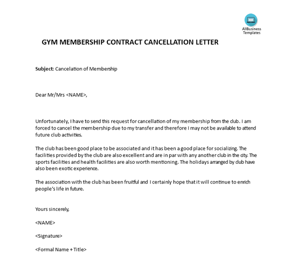 you can use the following letter to cancel gym membership template