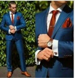 Brown Shoes Blue Suit Red Tie
