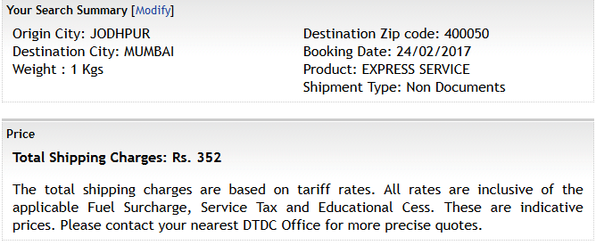 What is the price of DTDC courier per kg for 1000km (within India