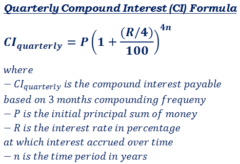 What Is The Formula To Calculate Amount When Interest Compounded Quarterly