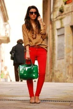 A Mustard Yellow Cardigan Pairs Beautifully With Deep And Rich Red Pants This Color Combination Is So Warm Soothing