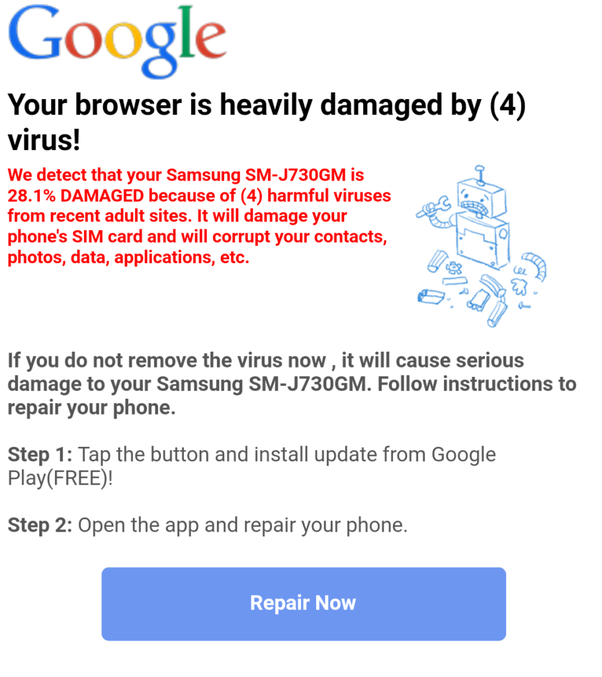 How To Stop A Redirecting Virus On Android In Google