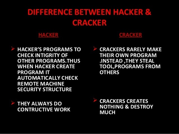 What is the difference between hacker and cracker quora by now we are well aware that the hackers are the ethical professionals while the crackers break into the security systems unethically and illegally solutioingenieria Images