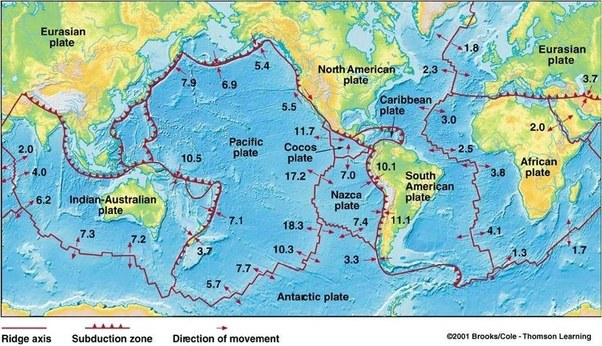 Is the sea floor spreading rate the same at all mid ocean ridges having been asked to answer here is a quick reply spreading rates vary quite significantly between ridges as you can see on this map gumiabroncs Images
