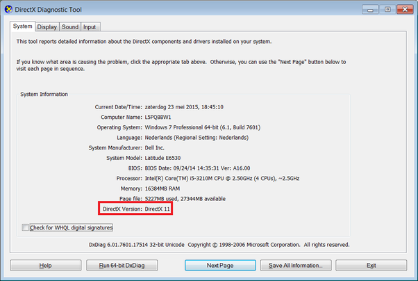 how to check what directx you have