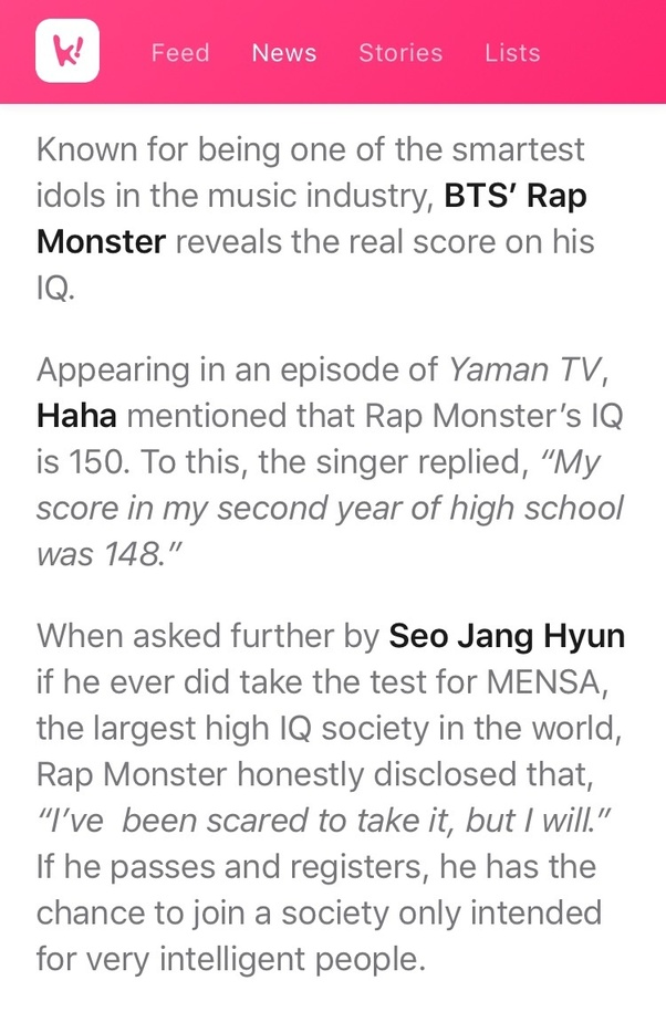 What is RM from BTS's IQ? - Quora